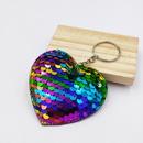 fashion doublesided reflective fish scale PET sequin heart shape pendant keychain   NHDI367829