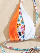 fashion printing multicolor stitching strappy swimsuit  NHZO367853