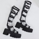 fashion new thicksoled highheeled Roman rivet belt buckle sandals  NHSO367867