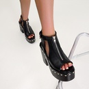 fashion thick heel waterproof platform Roman rivet fish mouth sandals  NHSO367864