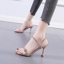 simple rhinestones transparent lace stiletto opentoe sandals  NHSO367885