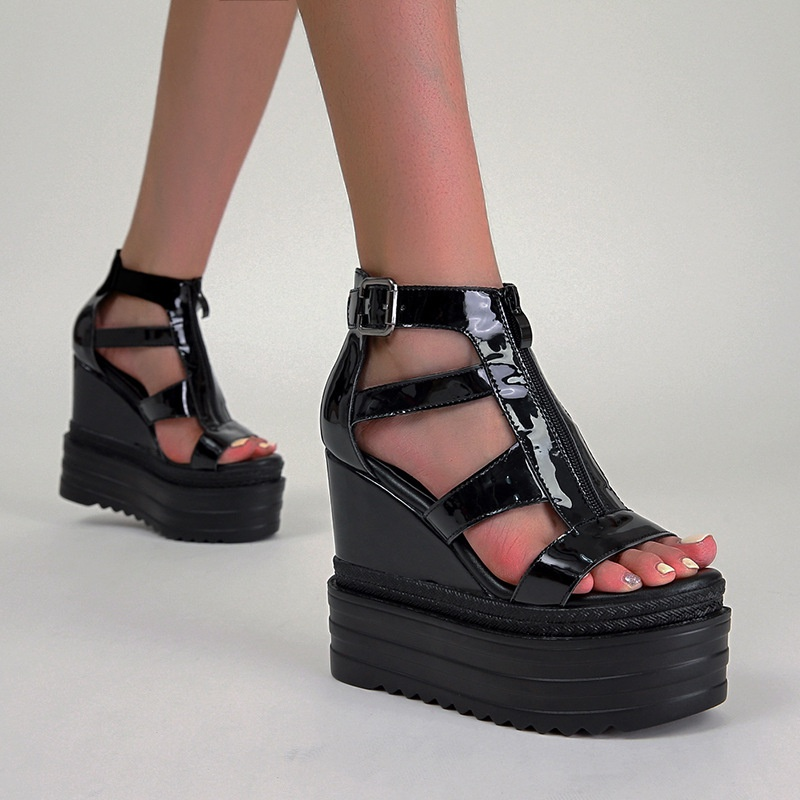Korean wedge high heel Roman thin strap platform sandals  NHSO367913