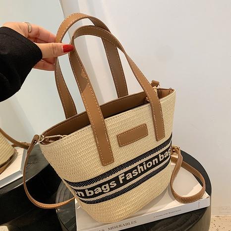 fashion Straw one-shoulder oblique portable bucket bag NHAV367949's discount tags