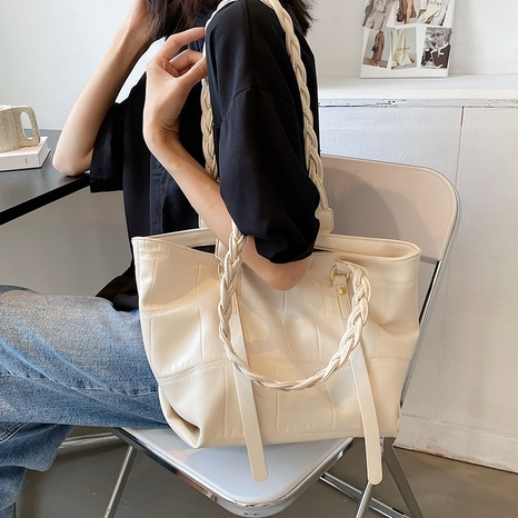 simple large-capacity texture shoulder underarm tote bag NHAV367951's discount tags