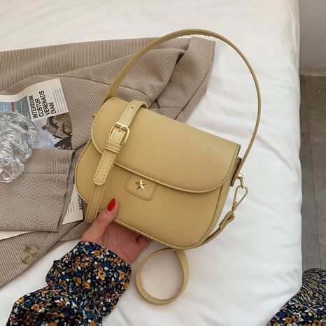 fashion solid color messenger one-shoulder armpit small square bag NHJZ367972's discount tags