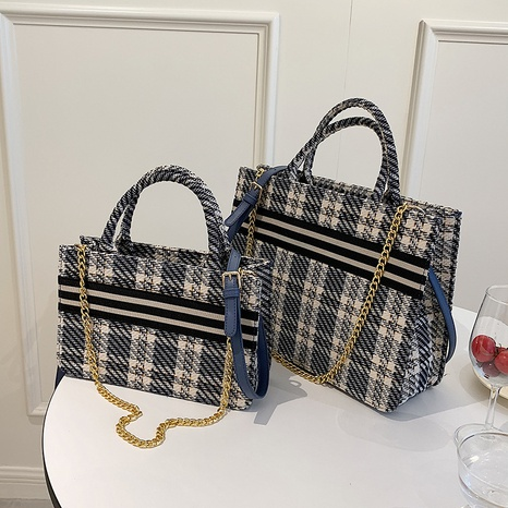 retro plaid pattern Large-capacity one-shoulder messenger tote bag  NHJZ367975's discount tags