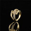 simple real gold electroplated microinlaid zircon geometric opening ring NHFMO367988