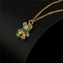 fashion color cute cartoon bear copper microinlaid necklace  NHFMO368021