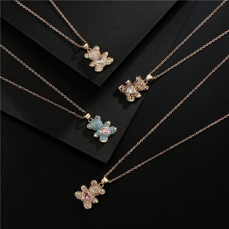 fashion copper microinlaid color zirconium turquoise heart bear pendant necklace NHFMO368022