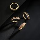 fashion copper microinlaid full diamond zircon multirows open ring  NHFMO368042