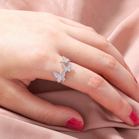 simple micro-studded zircon multiple butterfly open ring  NHAN368060's discount tags
