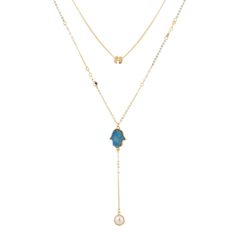 fashion stitching chain blue crystal cluster devil hand long tassel multilayer necklace NHAN368078
