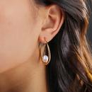 simple natural pearl Ushaped metal earrings  NHAN368080