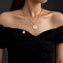 retro buckle round pendant necklace NHAN368089