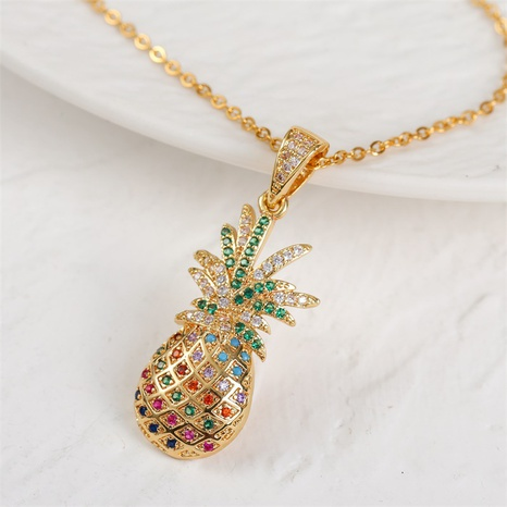 simple copper inlaid zirconium fruit pineapple pendent necklace  NHLA368093's discount tags