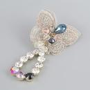 exaggerated lace butterfly alloy diamond tassel asymmetric earrings NHJE368106