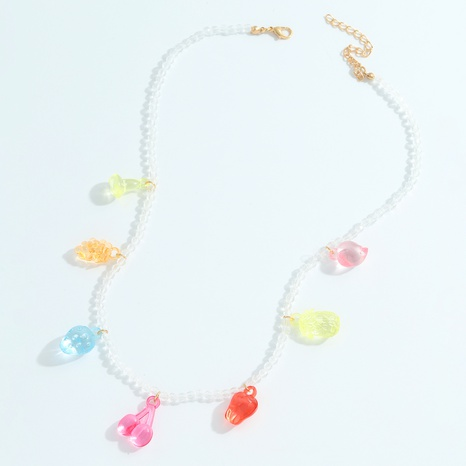 Retro round beads color fruit pendant handmade necklace  NHJQ368118's discount tags