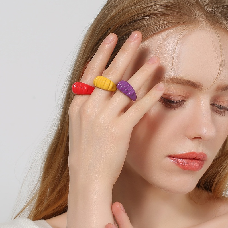 Fashion Color Thread Irregular Open Acrylic Ring  NHDP368122