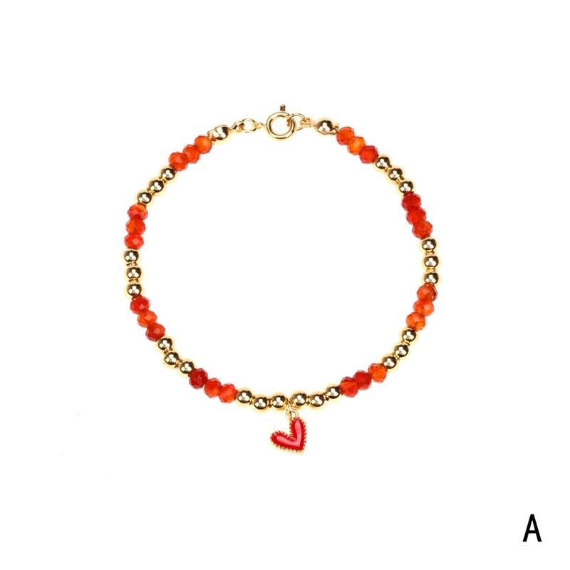 retro oil drop enamel heart copperplated metal beads bracelet NHPY368132