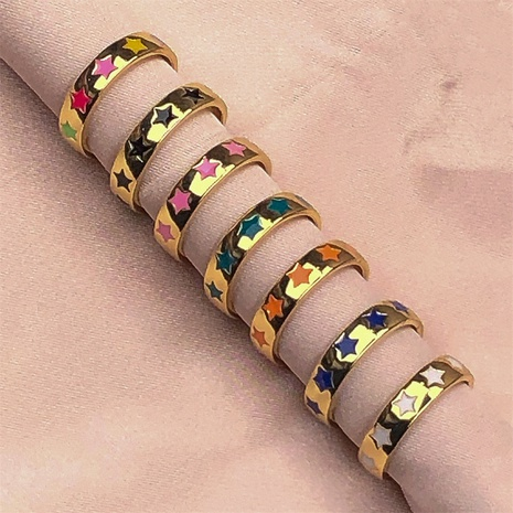 fashion color dripping oil star copper ring wholesale  NHPY368135's discount tags