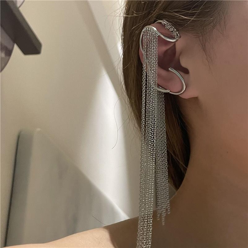 exaggerated geometric irregular long tassel chain single ear clip NHYQ368139