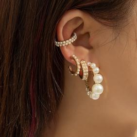 fashion metal geometric pearl earrings  NHXR368149