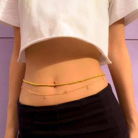 Simple copper clad iron rhinestone round bead chain double waist chain  NHXR368160's discount tags