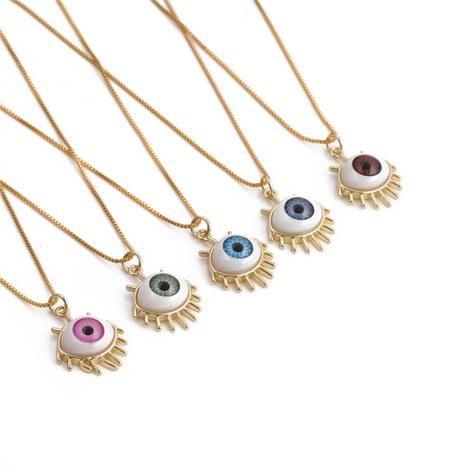 collar de circonita de cobre con colgante de mal de ojo simple NHYL368162's discount tags
