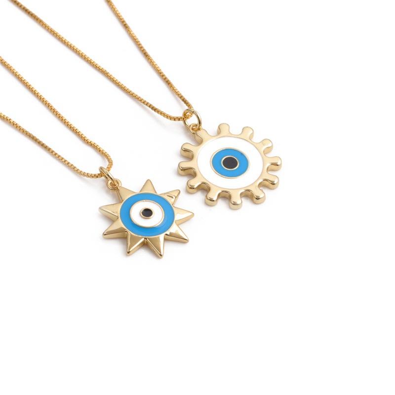 Wholesale Retro Fatima Demon Eye Pendent Copper Necklace  NHYL368164