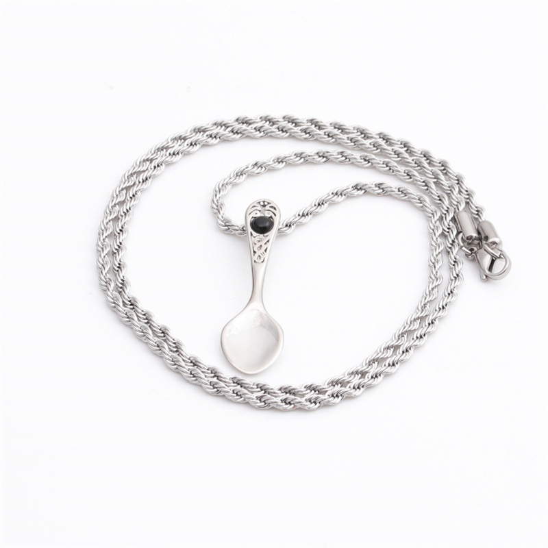 fashion heart spoon twist chain stainless steel long necklace  NHYL368166
