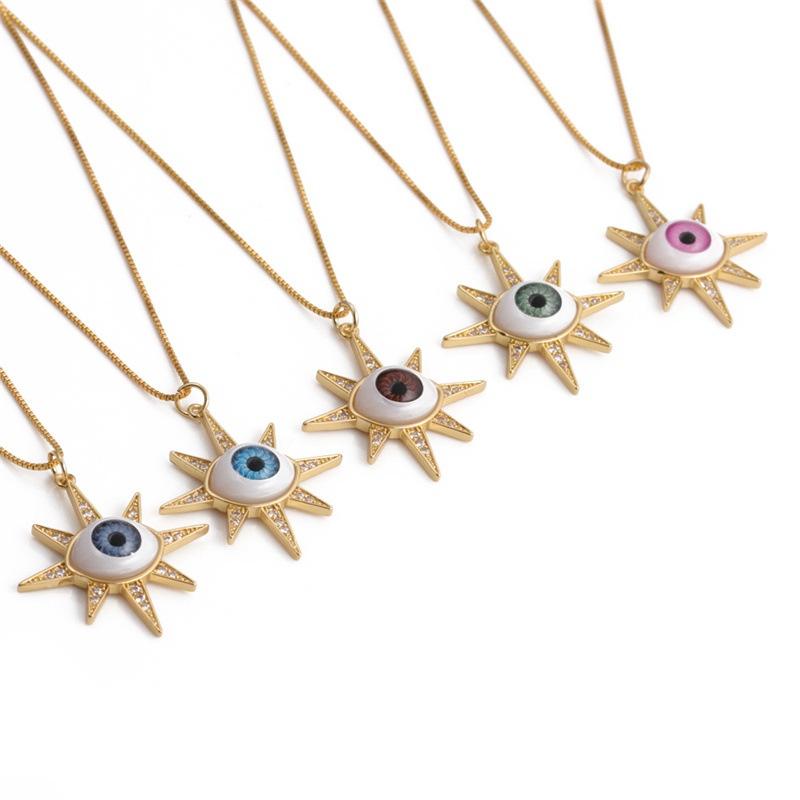 Wholesale Retro Copper Zircon Devil Eye Pendent Necklace  NHYL368172