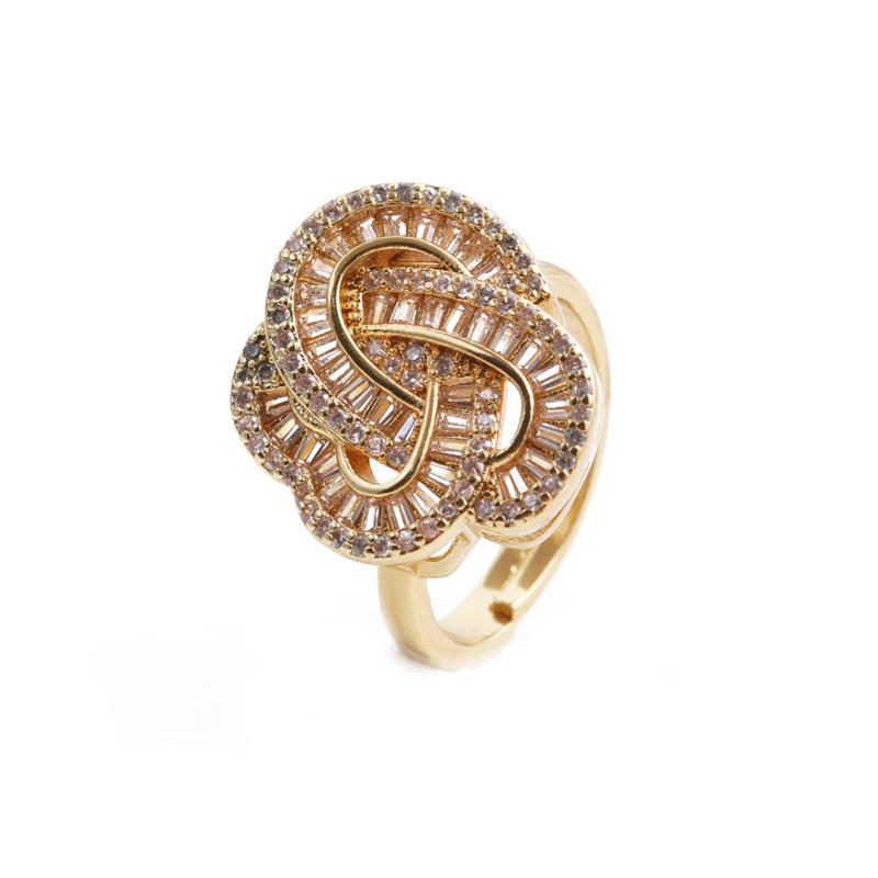 fashion geometric zircon twisted heartshaped ring wholesale  NHYL368185