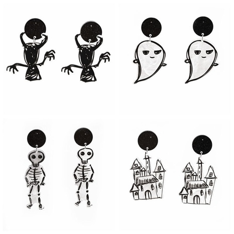 fashion Halloween ghost skull castle acrylic earrings NHYL368194's discount tags