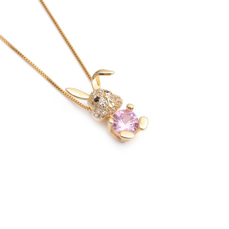 wholesale Korean copper inlaid zircon rabbit pendent necklace NHYL368200