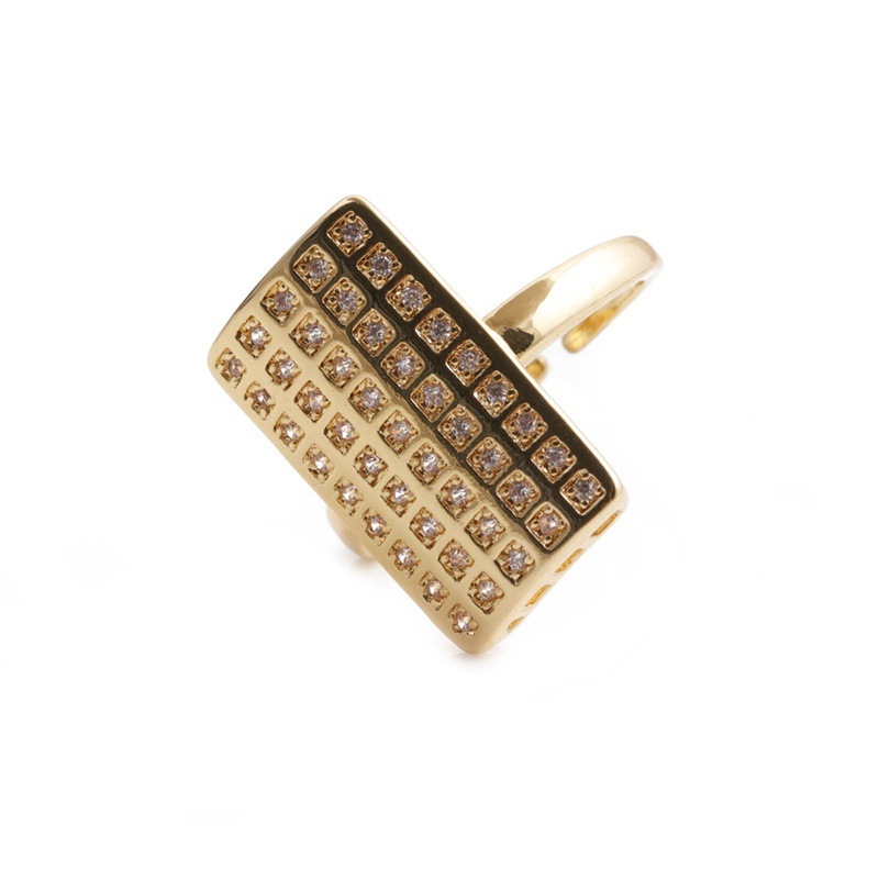 simple rectangular multirow zircon opening adjustable copper ring NHYL368202