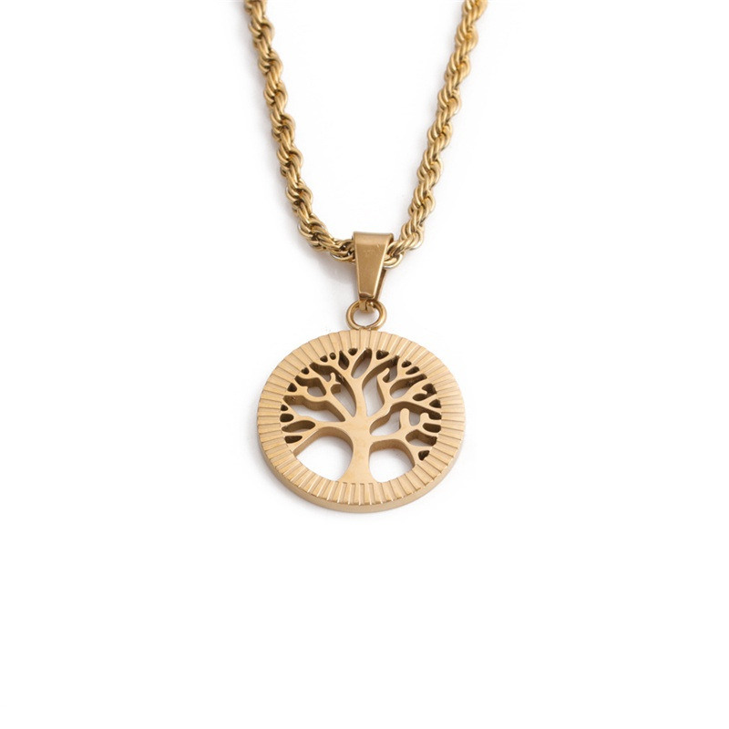 hiphop twist chain tree of life pendent necklace NHYL368204