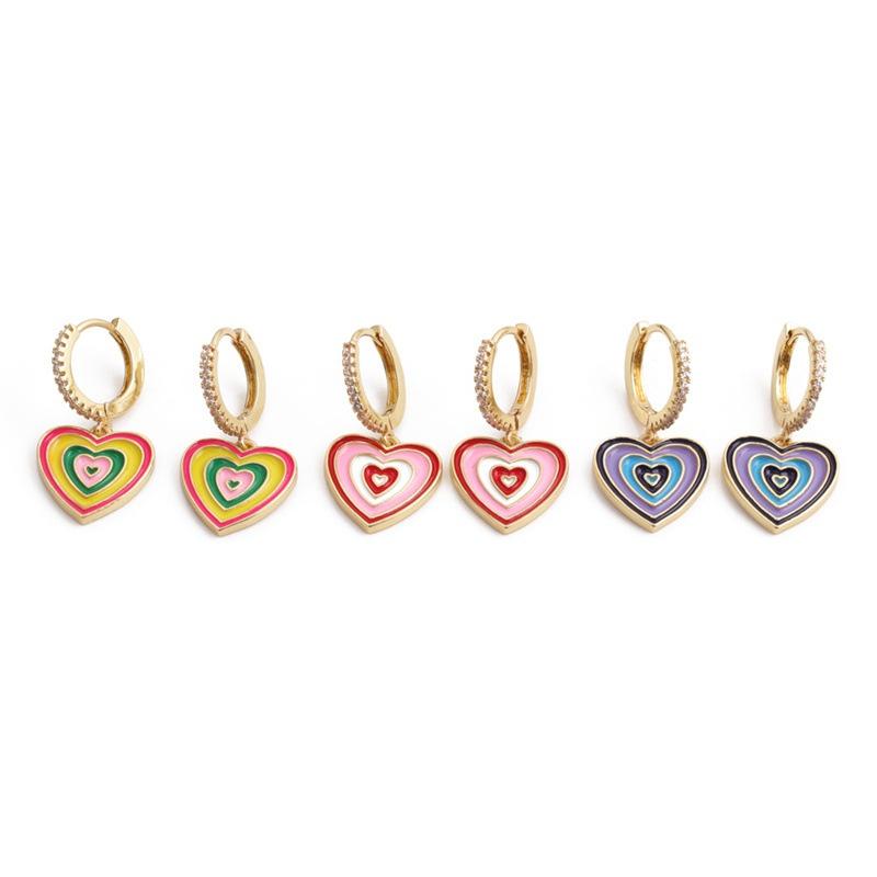 Korean style color alloy dripping oil heart shape earrings  NHYL368206