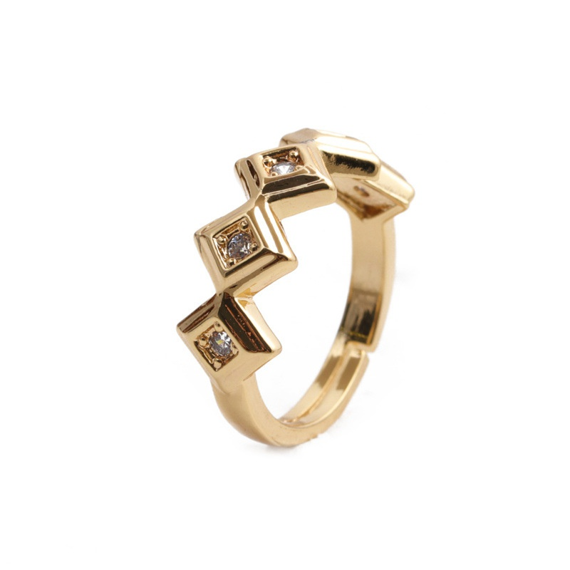 retro geometric multiple diamonds copper inlaid zircon open ring  NHYL368219