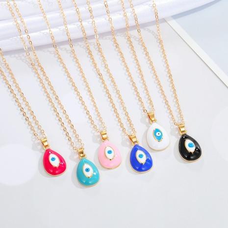 moda ojo de demonio gota de agua colgante collar multicolor NHGO368227's discount tags