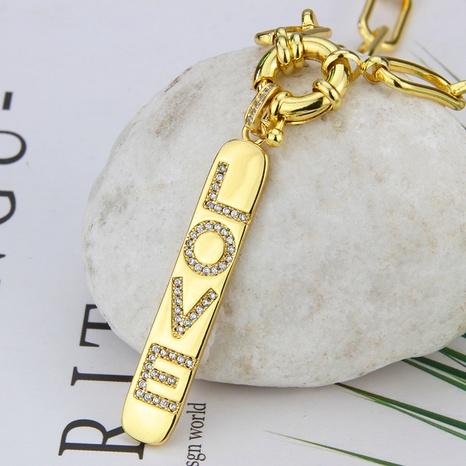 neue Halskette mit Zirkonia-Glanzbuchstaben und Kupfer-Anhänger NHBP368239's discount tags