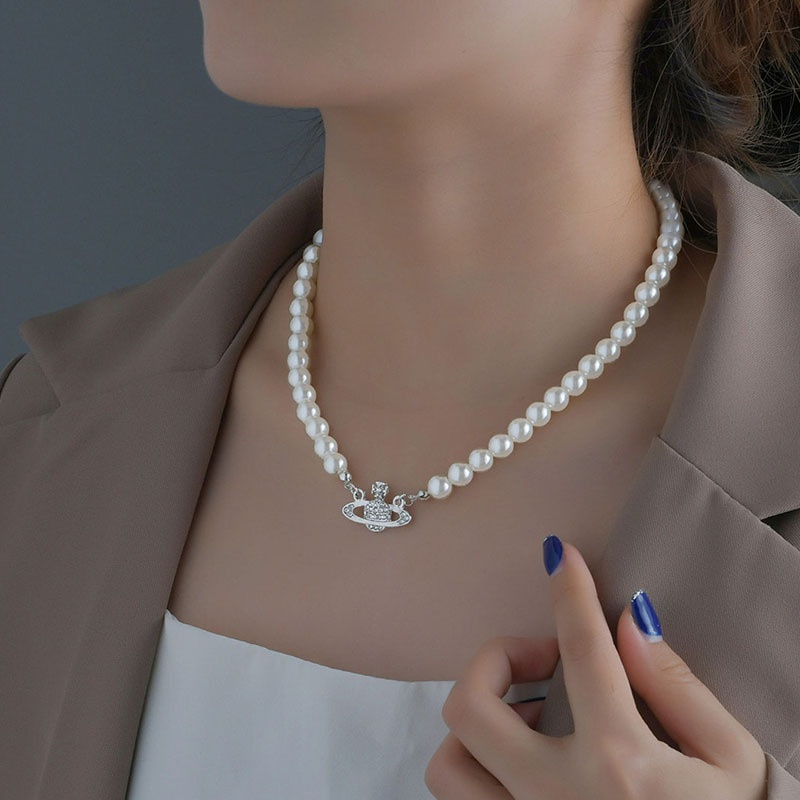 Korean pearl chain planet pendent short clavicle chain  NHHF368243