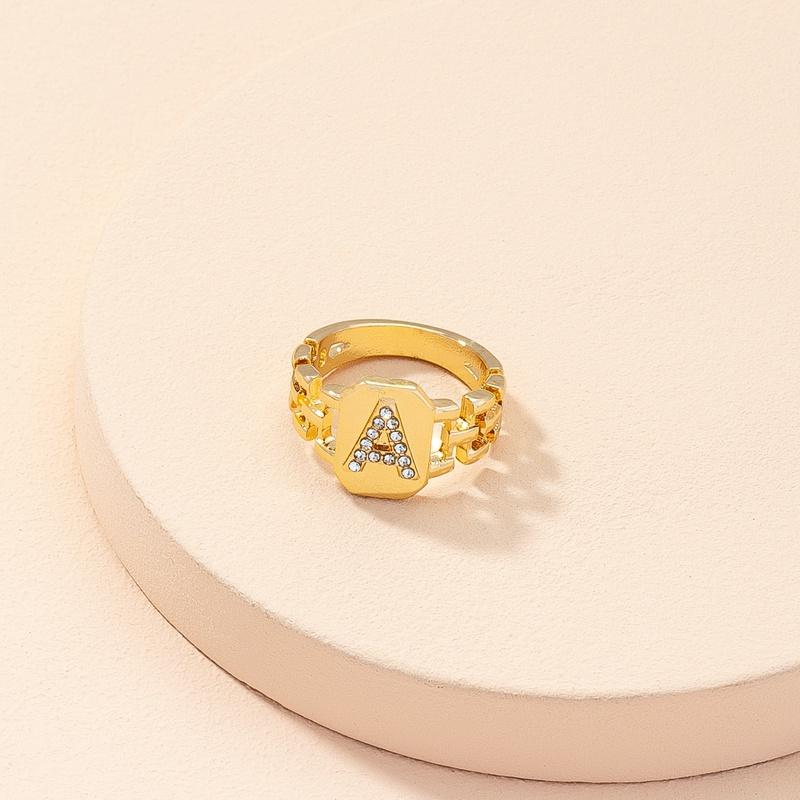 new retro diamond letter A alloy ring  NHAI368249