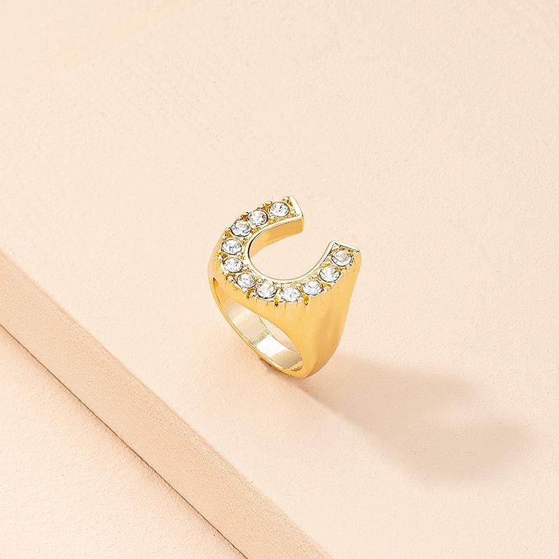 new simple alloy diamond letter geometric ring  NHAI368248
