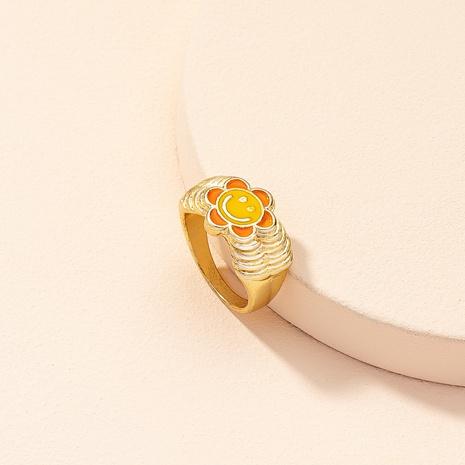 Korean cute flower smiley geometric alloy ring wholesale  NHAI368253's discount tags