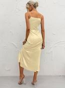 fashion solid color high waist slim sling long dress NHDE368276