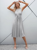 fashion solid color high waist laceup big swing dress  NHDE368291