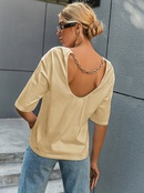 fashion solid color midlength sleeve backless tops NHDE368293