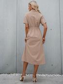 fashion solid color lapel short sleeve high waist long dress NHDE368303