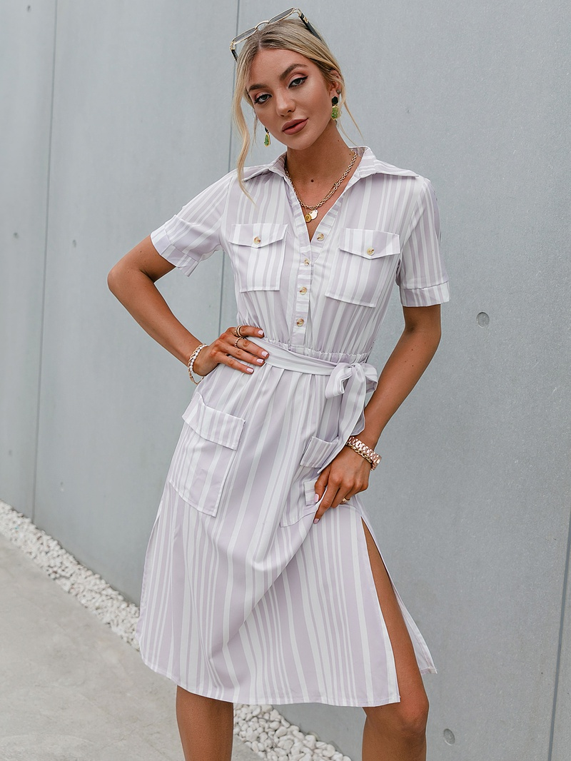fashion solid color lapel short sleeve laceup split dress NHDE368304