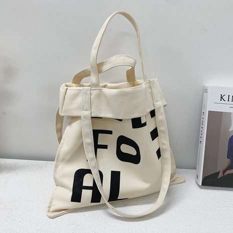 Simple large-capacity alphabet printing shoulder canvas bag   NHLH368359's discount tags
